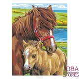 """Schilderen op nummer """"Sequin Art"""" Junior Paarden (2 stuks)_"""