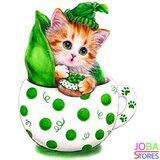 OP=OP Diamond Painting Kitten Groen 30x30cm_