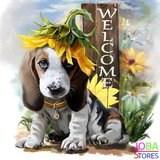 Diamond Painting Welcome Dog 40x40cm_