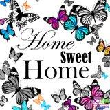 Diamond Painting Home Sweet Home Vlinders 40x40cm_