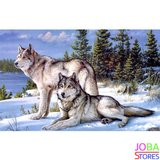 Diamond Painting Wolven Stel 40x30cm_