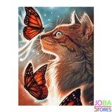 OP=OP Diamond Painting Kat met Vlinders 30x40cm_