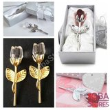 Kristallen Roosje in geschenkdoosje Zilverkleurig