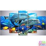 Diamond Painting Dolfijnen 5 luiks 100x55cm_