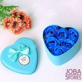 Zeep Roosjes Hart met 6 roosjes (Blauw)_
