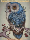 Diamond Painting Blauwe Uil 30x40cm - Rond_