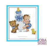 Borduur Pakket Baby Blauw 11CT Voorbedrukt (26x32cm)_
