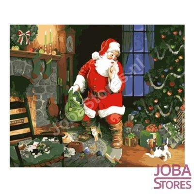 Schilderen op nummer Kerstman in woonkamer 40x50cm