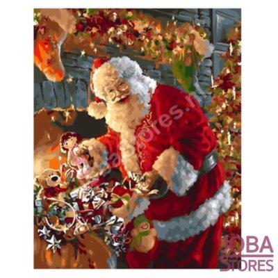 Schilderen op nummer Kerstman met cadeautjes 40x50cm