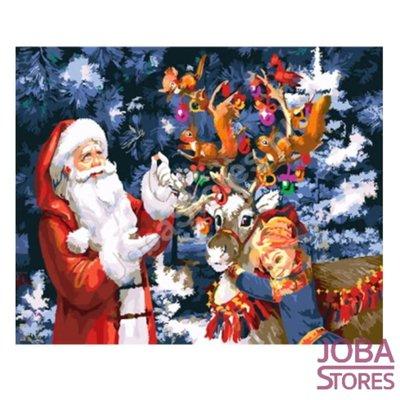 Schilderen op nummer Kerstman met rendier 40x50cm