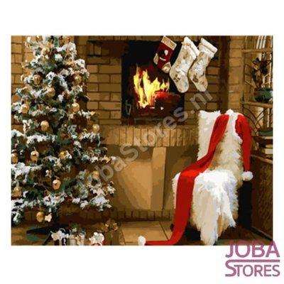 Schilderen op nummer Kerst Haard 40x50cm