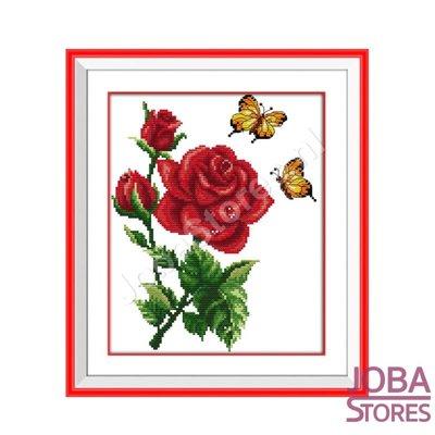 Borduur Pakket Roos met vlinders 14CT Voorbedrukt (26x30cm)