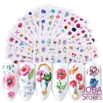 Nagel Sticker Set Bloemen (24 vellen)