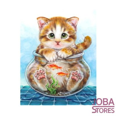 Diamond Painting Kat in vissenkom 20x25cm