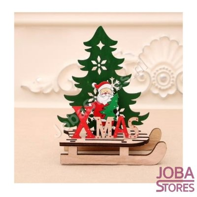 Houten Kerst Slee Xmas Kerstman (S)