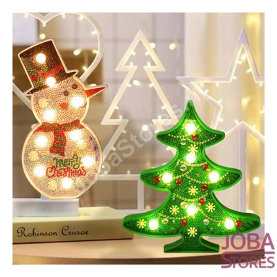 Diamond Painting Kerst Lampen Set (Kerstboom & Sneeuwpop)