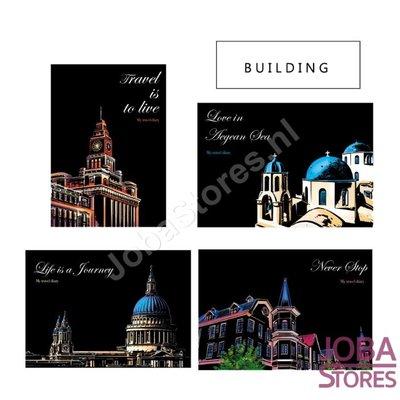 Kras Tekeningen Set Buildings 29x21cm (4 stuks)