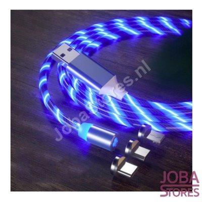 USB kabel magnetisch met verlichting en 3 stekkers (Blauw)