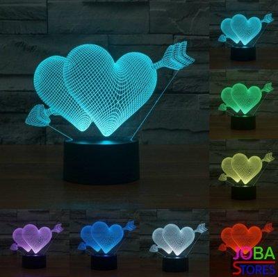 OP=OP 3D Illusie Lamp Hart (7 kleuren instelbaar)
