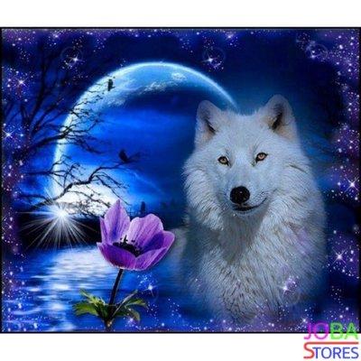 Diamond Painting Witte Wolf 60x50cm