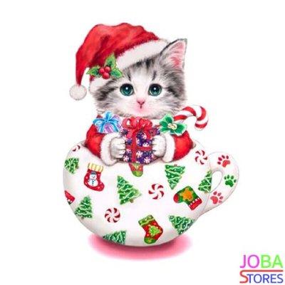 OP=OP Diamond Painting Kitten Kerst 30x30cm