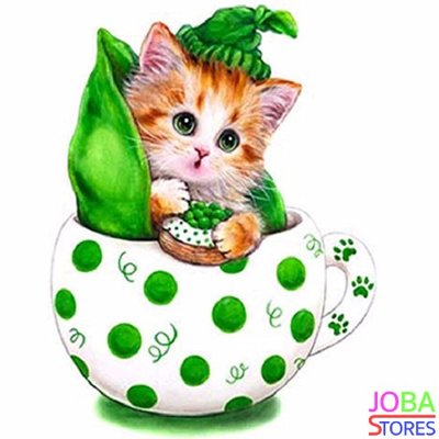 Diamond Painting Kitten Groen 30x30cm