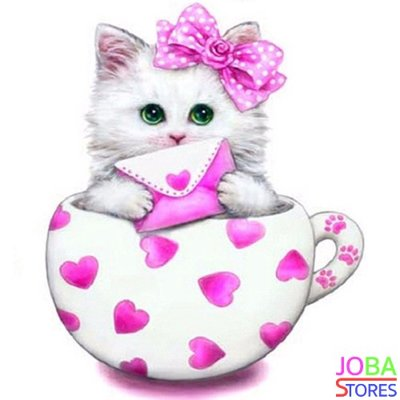 Diamond Painting Kitten Roze 30x30cm