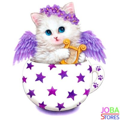 Diamond Painting Kitten Paars 30x30cm
