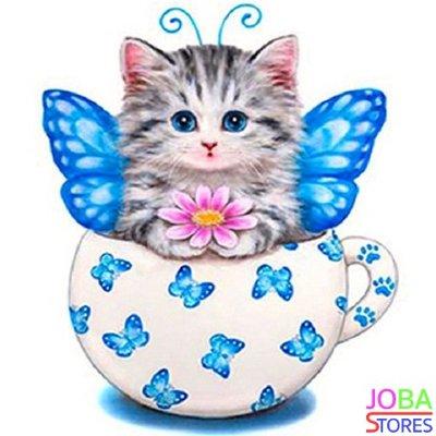 OP=OP Diamond Painting Kitten Blauw 30x30cm