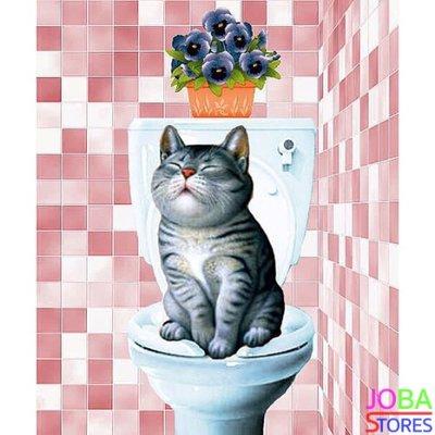 OP=OP Diamond Painting Toilet Kat Roze 30x40cm