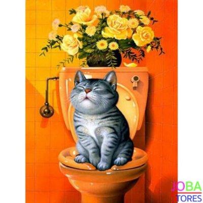 OP=OP Diamond Painting Toilet Kat Oranje 30x40cm