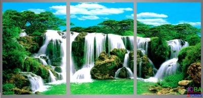 Diamond Painting Waterval 3 luiks 60x25cm