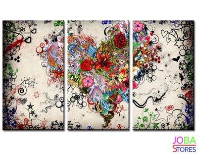 Diamond Painting Bloemen Hart 3 luiks 60x35cm
