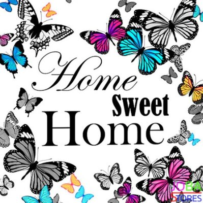 Diamond Painting Home Sweet Home Vlinders 40x40cm