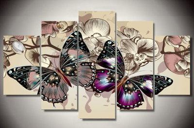 Diamond Painting Vlinders 5 luiks 100x55cm