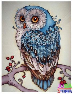 Diamond Painting Blauwe Uil 40x50cm - rond