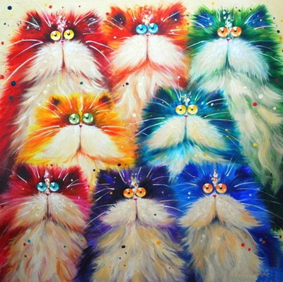 Diamond Painting Colorful Crazy Cats 40x40cm