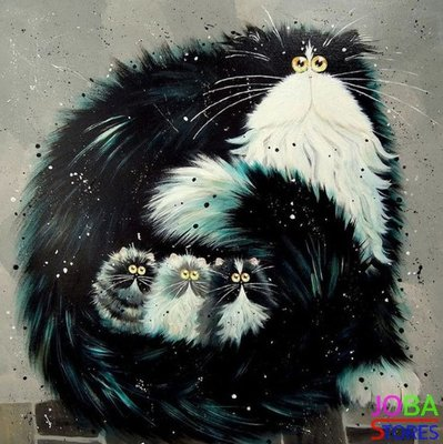 OP=OP Diamond Painting Crazy Cats 04 30x30cm