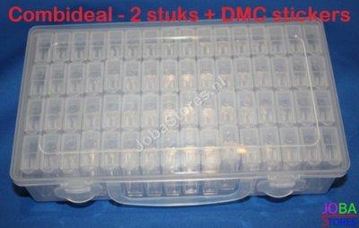 Diamond Painting Sorteerdoos Combideal 64 slots TicTac Style (2 stuks + DMC stickers)