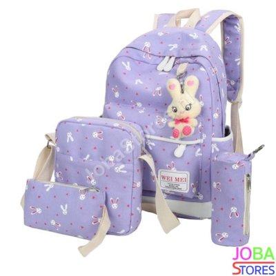 Schooltassen Set Bunny Lila (5-delig)