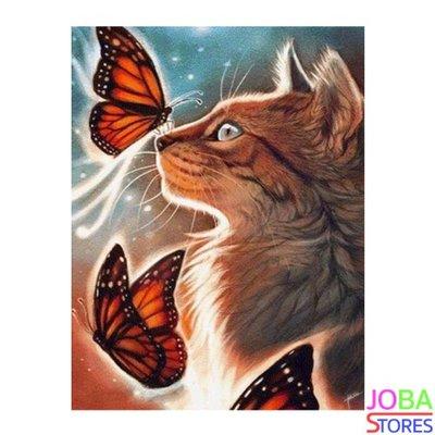 Diamond Painting Kat met Vlinders 40x50cm