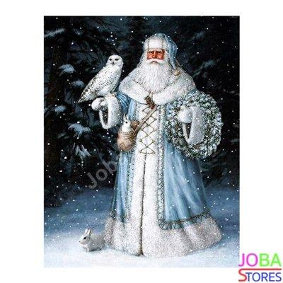 Diamond Painting Kerstman met sneeuwuil 40x50cm