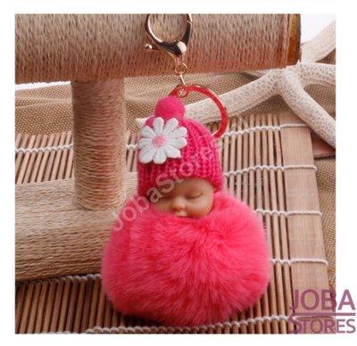 Pom Pom Sleutelhanger Baby Roze