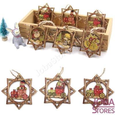 Houten Kerst Hangers Ster Assorti (6 stuks)