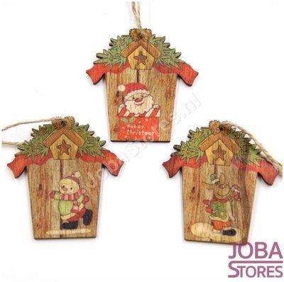 Houten Kerst Hangers Huis Assorti (9 stuks)