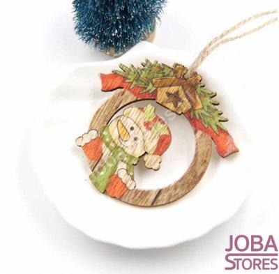 Houten Kerst Hangers Rond Sneeuwpop (10 stuks)