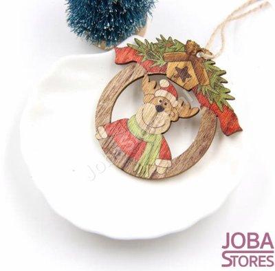 Houten Kerst Hangers Rond Rendier (10 stuks)