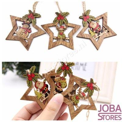 Houten Kerst Hangers Sterren Assorti (4 stuks)