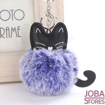 Pom Pom Sleutelhanger Kat Blauw
