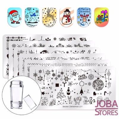 Nagellak Stempel Set Kerst (6 stempelplaten) + Stempel & Schraper